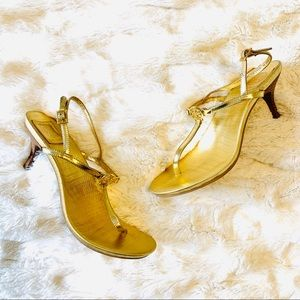 Tory Burch Gold Thong Sandal Heels 8.5